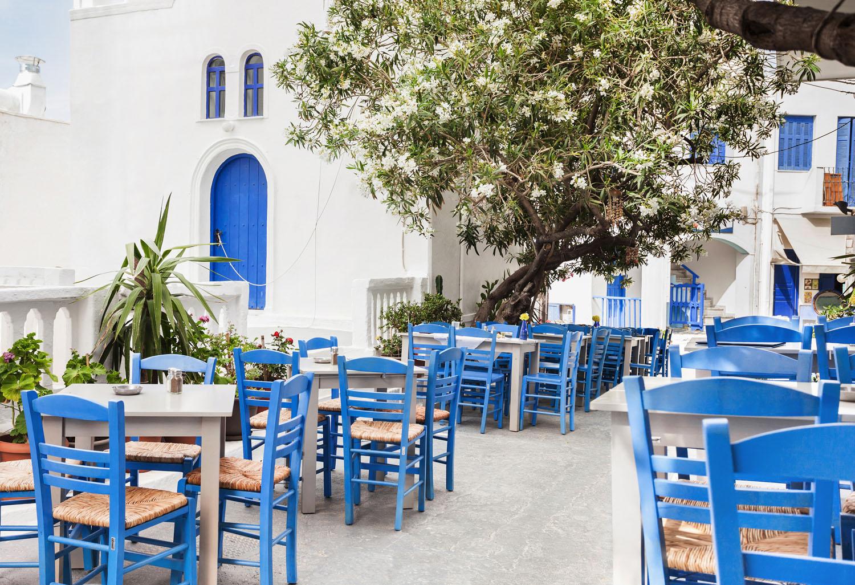 Traditional greek restaurant on Amorgos island,